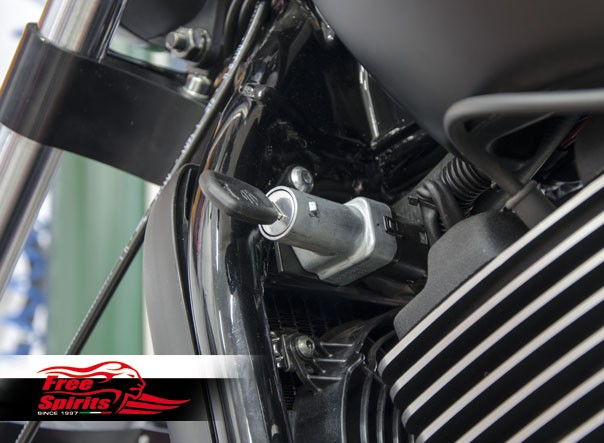 Ignition switch relocation bracket for Harley Davidson XG Street